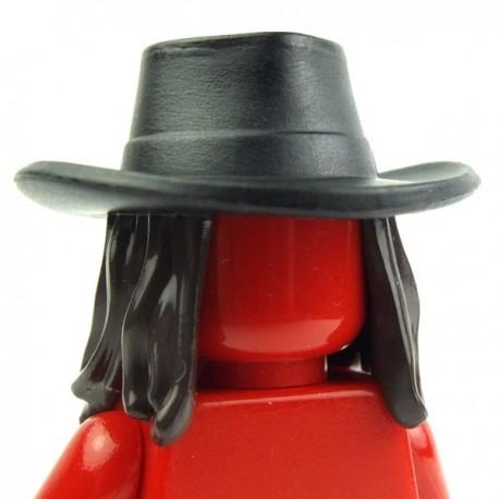 Lego Accessoires Minifig Chapeau Cowboy (noir) avec cheveux longs (Dark Brown) (La Petite Brique)