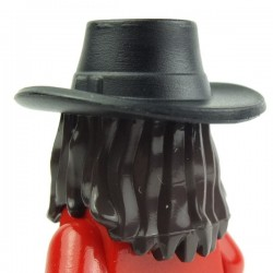 Dark Brown Minifig, Headgear Hair Long Straight with Black Gambler Style Cowboy Hat