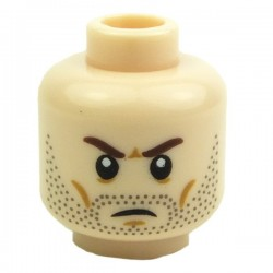 Light Flesh Minifig, Head Beard Stubble, Brown Angry Eyebrows, White Pupils
