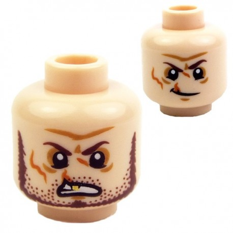 Light Flesh Minifig, Head Dual Sided Scars and Gold Tooth, Crooked Smile, Clean Shaven / Angry, Beard and Stubble
