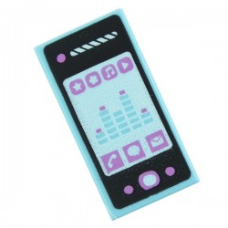 Medium Azure Tile 1 x 2 with Smartphone with Phone, Mail, Speech Bubble, Star, Flower, Note, Play Button and Sound Level