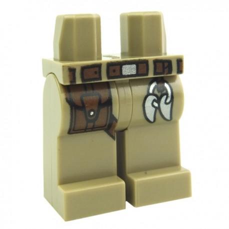 Lego Accessoires Minifig - Jambes - avec ceinture et pochette en cuir (Dark Tan) (La Petite Brique)