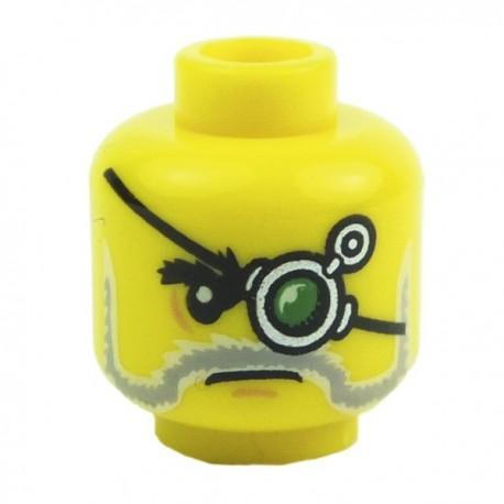 Yellow Minifig, Head Beard Gray and White, Mechanical Left Eye