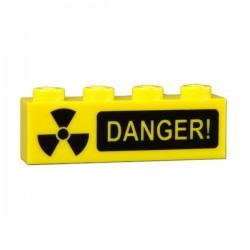 Lego Accessoires custom Minifig CUSTOM BRICKS Radioactif Danger (brique 1 x 4 jaune) (La Petite Brique)