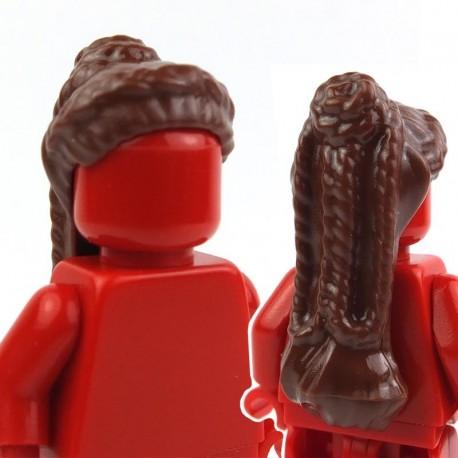 Lego Accessoires Minifig - Cheveux Long et haut tressé (reddish brown) (La Petite Brique)