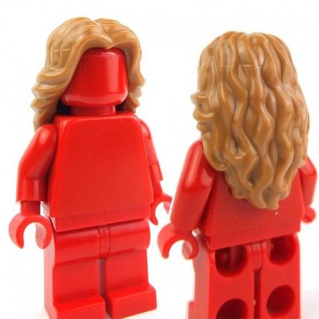 Lego Accessoires Minifig - Cheveux mi-long ondulé avec raie au milieu (Medium Dark Flesh) (La Petite Brique)