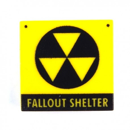 "Lego Custom Minifig eclipseGRAFX Fallout Shelter Sign ""propre"" (Tile 2x2) (La Petite Brique)"