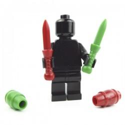 Lego Accessoires Minifig Custom BRICK WARRIORS Juggling Pin (2 : Rouge foncé + Vert) La Petite Brique