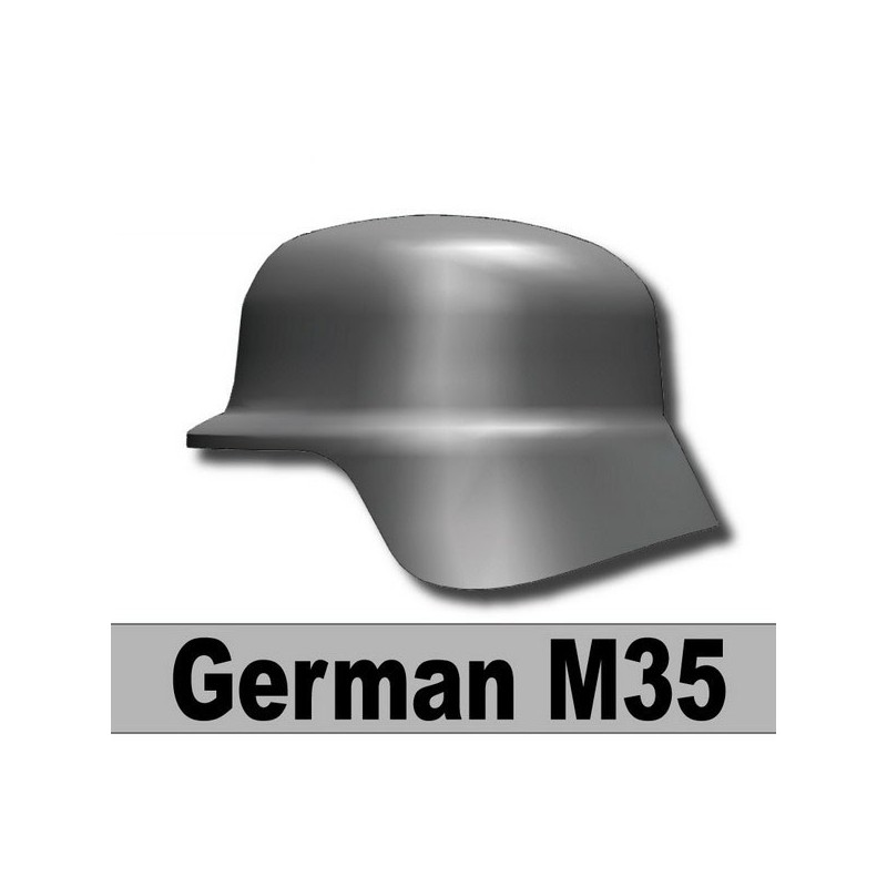 WW2 German M35 Helmet Dark Blueish Gray Compatible With Custom Minifigures