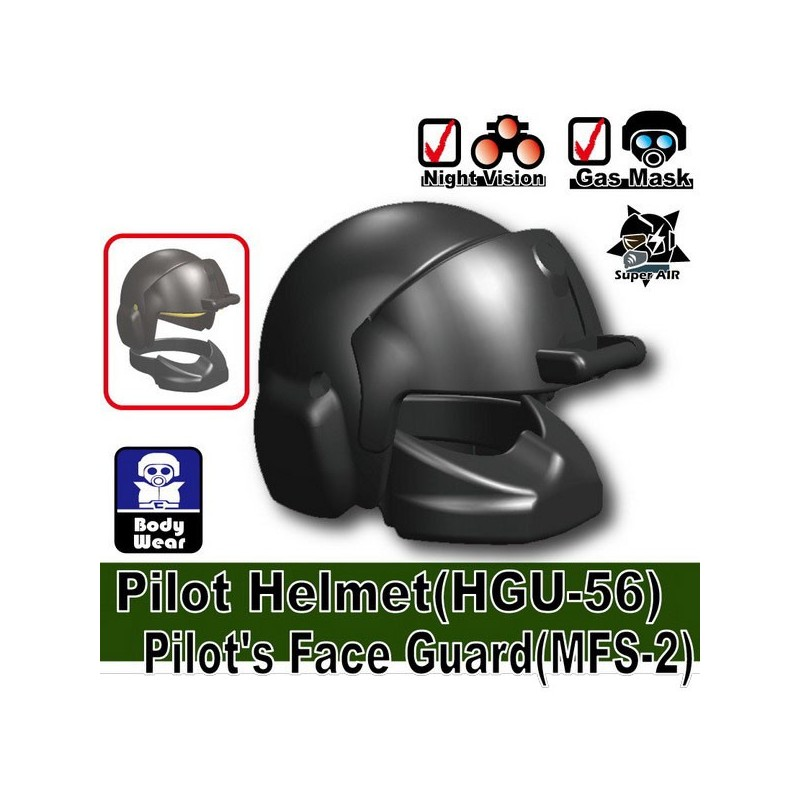 Lego Custom Minifig Si-Dan Toys Pilot Helmet HGU-56 + MFS-2 (Iron Black)  (La Petite Brique)