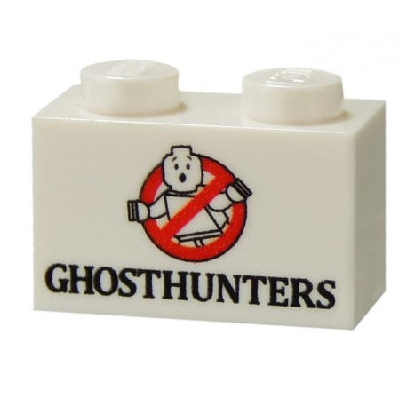 Lego Minifig CUSTOM BRICKS Ghosthunter (brique 1 x 2 blanche) (La Petite Brique)