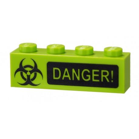 Lego Accessoires Minifig CUSTOM BRICKS Biohazard Danger (brique 1 x 4) (La Petite Brique)
