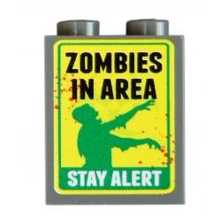 Lego Accessoires Minifig CUSTOM BRICKS Zombies Stay Alert (brique 1 x 2 x 2) (La Petite Brique)
