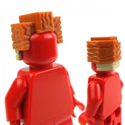 Dark Orange Minifig, Headgear Hair Squared