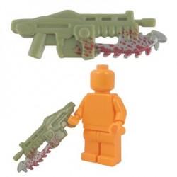 Lego Accessoires Minifig BRICKFORGE Shredder Gun - Olive Green (silver blade w/ spatter) (La Petite Brique)