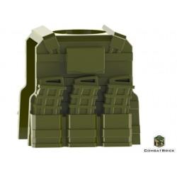"""Lego Accessoires Minifig COMBAT BRICK Reversable Vest with PMags and clip (vert """"militaire"""") (La Petite Brique)"""