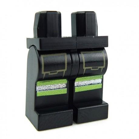 Lego Accessoires Minifig Jambes, avec poches et bandes (Noir) (La Petite Brique)