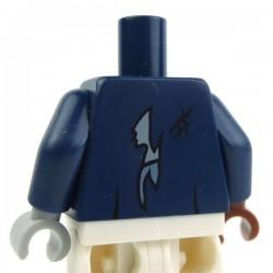 Lego Accessoires Minifig Torse - Veste déchiré en lambeaux avec des boutons (Bleu foncé) (La Petite Brique)