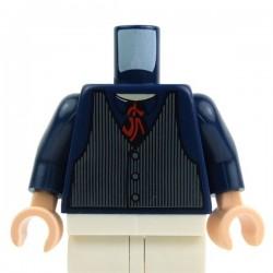 Lego Accessoires Minifig Torse - Gilet rayures, cravate rouge (Bleu foncé) (La Petite Brique)