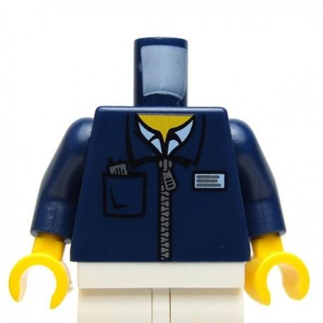 Lego Accessoires Minifig Torse - Veste zippers (Bleu foncé) (La Petite Brique)