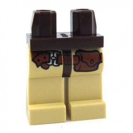 Lego Accessoires Minifig Jambes - ceinture, poche (Tan - Dark Brown) (La Petite Brique)