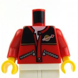 Lego Accessoires Minifig Torse - Veste avec logo Space (Rouge) (La Petite Brique)
