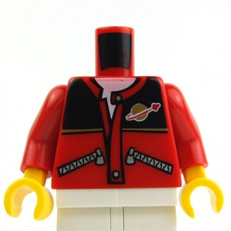 Red Torso Jacket with Zippers, Black Top, Classic Space Logo, White Undershirt