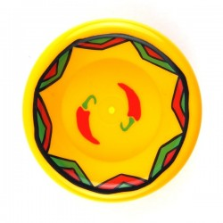 Bright Light Orange Dish 3 x 3, Red Hot Chili Peppers and Green