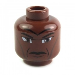 Reddish Brown Minifig, Head Male Forehead, Cheek Lines, Furrowed Brow