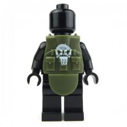 """Lego Accessoires Minifig Si-Dan Toys Tactical Vest L4s """"Punisher"""" (Vert Militaire) (La Petite Brique)"""