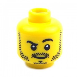 Yellow Minifig, Head Beard Stubble, Black Raised Eyebrow, White Pupils