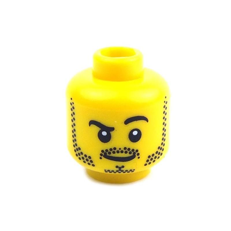 Lego New Yellow Minifigure Head Moustache Black Curled Bushy Eyebrows Piece