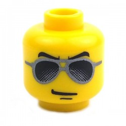 Yellow Minifig, Head with Black and Silver Sunglasses, Chin Dimple