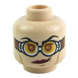 Light Flesh Minifig, Head Dual Sided Red Lipstick, Goggles / no Goggles