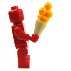 Lego Accessoires Minifig Cornet crême glacée 4 boules (Bright Light Orange) (La Petite Brique)