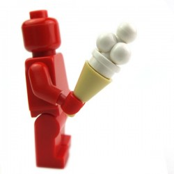 Lego Accessoires Minifig Cornet crême glacée 4 boules (Blanc) (La Petite Brique)