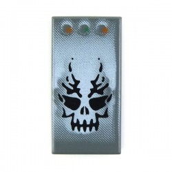 Dark Bluish Gray Tile 1 x 2 with Skull & 3 Buttons
