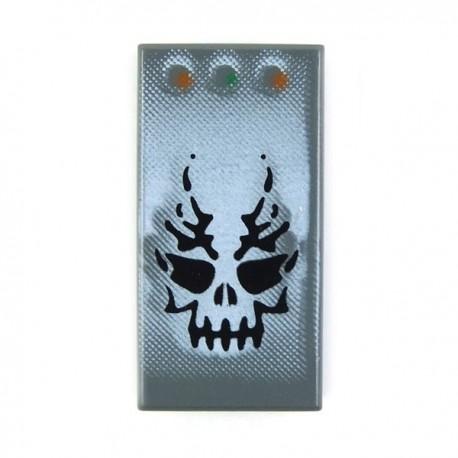 Lego Accessoires Minifig Tête Squelette, 3 boutons - Tile 1 x 2 (Dark Bluish Gray) (La Petite Brique)