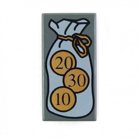 Lego Accessoires Minifig Bourse et pièces de monnaies - Tile 1 x 2 (Dark Bluish Gray) (La Petite Brique)