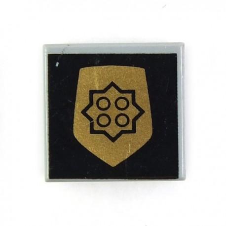 Lego Accessoires Minifig Tile 1 x 1 Insigne Police (Light Bluish Gray) (La Petite Brique)