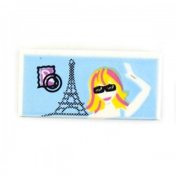 Tile 1 x 2 Postal Card with Eiffel Tower and Girl Waving