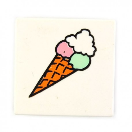 Tile 2 x 2 with Ice Cream Cone (White)