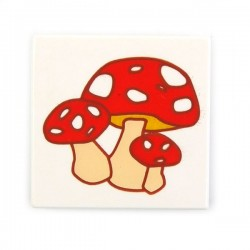 Tile 2 x 2 with Toadstool (Mushroom) Cluster (White)