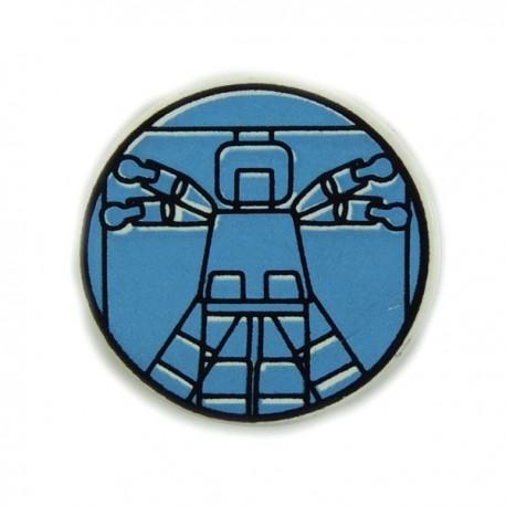 White Tile, Round 2 x 2 with Light Blue Vitruvian Minifig
