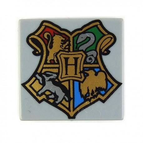 Lego Accessoires Minifig Tile 2x2 Armoirie Hogwarts (Light Bluish Gray) (La Petite Brique)