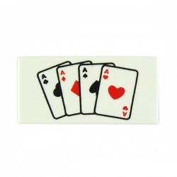 White Tile 1x2 Playing Cards Four Aces