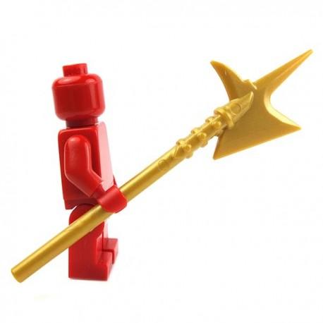 Lego Accessoires Minifig Custom BRICK WARRIORS Hallebarde City Watch (Pearl Gold) La Petite Brique
