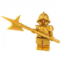 Lego Accessoires Minifig Custom BRICK WARRIORS Hallebarde City Watch (Pearl Gold) La Petite Brique