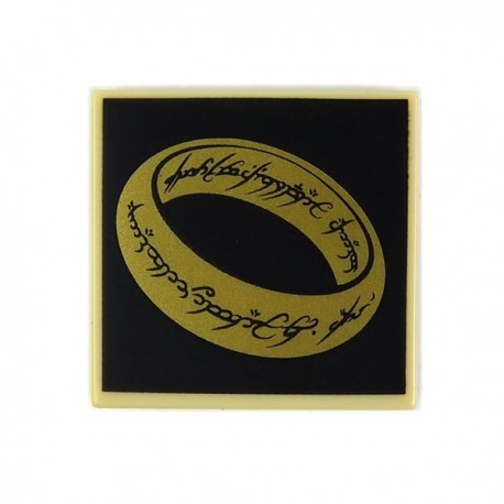 Tan Tile 2x2 LotR Gold Ring on Black Background