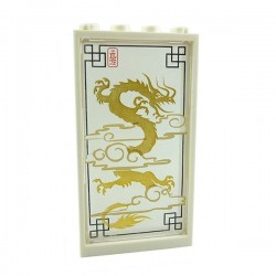 Trans-Clear Glass for Window 1x4x6 with Dragon + White Frame